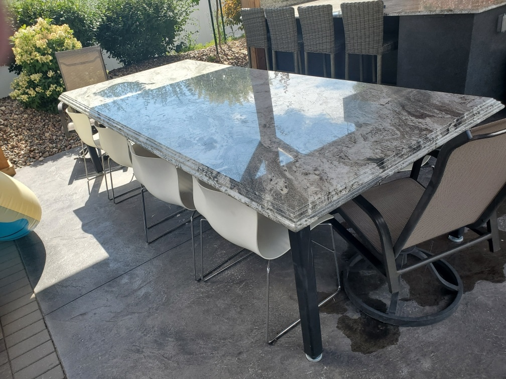 outside granite table