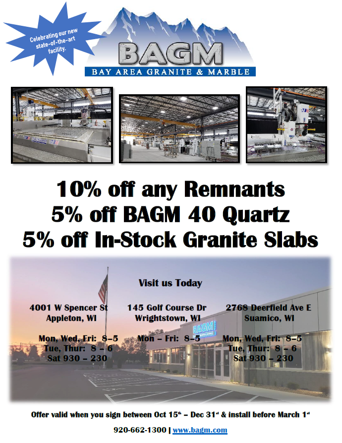 New State-of-the-art Facility Stone Sale | 10% off Remnants | 5% off BAGM 40 Quartz | 5% off In-Stock Granite